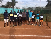 Jon Cain with the Ugandan coaches and youngsters on the Tennis Leaders programme.