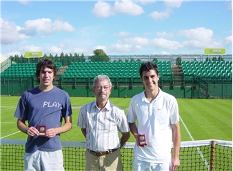 Callum Chivers (right) mens singles champion with runner-up Tom Hannah and John Poxon