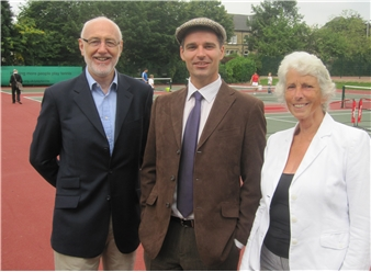 Peter Bretherton with Greenhead Park Activity Officer Chris Smith and YLTA Chairman Liz Wilson